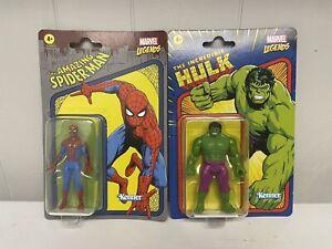 New Hasbro/Kenner Marvel Legends Retro 3.75 Spiderman,Hulk, In Hand