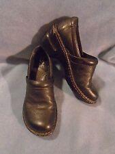Women's Born Concept Black Leather Clogs Size 6 M