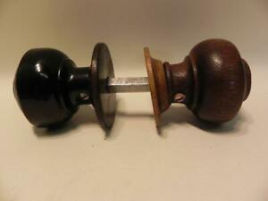 Antique Wood Door Knobs.  A Pair. Spindle etc. Early 20th C.  (318)