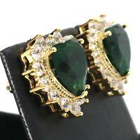 5 Ct Green Heart Emerald Stud Earring Women Jewelry 14K Gold Plated Nickel Free