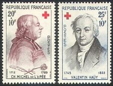 France 1959 Red Cross/Medical/Health/Abbe de l'Epee/Hauy/People 2v set (n27714)