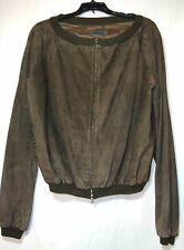 Alberta Ferretti Solid Brown Suede Leather Fully-Lined Bomber Jacket 2-Way Zip 8