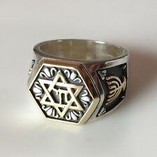 14k gold Jewish Symbols: Star of David Chai Menorah sterling silver ring Sz 8.75