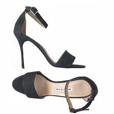 c8e648e38a5 NEW MANOLO BLAHNIK Tres Black Denim Wide Strap Ankle Strap Sandals Sz 40   745