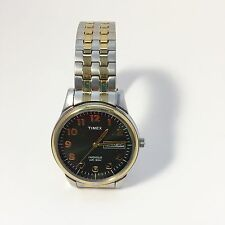 Timex Mens Indiglo Watch Brass/Stainless Steel Expansion Calendar Works WR30M