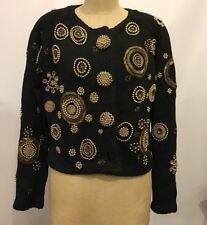 Vintage MICHAEL SIMON New York beaded black cardigan sweater