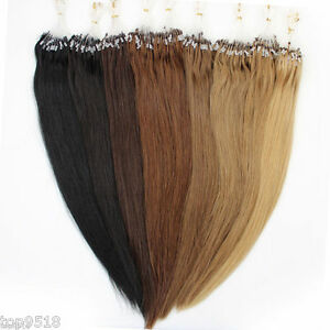 "16~26"" Easy Loop Micro Ring Beads  Remy Human Hair Extensions Straight 100s"