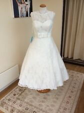 vintage tea length wedding dress uk14 NWT