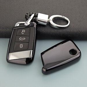 For Volkswagen Arteon Passat B8 Smart Car Key Chain Fob Cover Case Holder Black