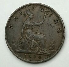 Dated : 1884 - One Farthing - 1/4d Coin - Queen Victoria - Great Britain