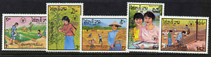 Laos 827-31 MNH Agriculture, Animals, Pigs, Chickens
