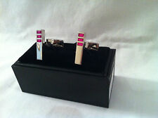 Chrome plated cufflinks,Pink crystals  on each,