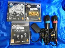 ps3 SINGSTAR x3 ABBA + QUEEN + Take That + 2 WIRED Official Mics Microphones PAL