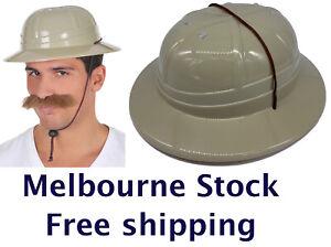 Plastic SAFARI HAT - Grey African Hunter Jungle Pith Helmet Costume Accessory