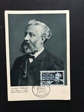 France 1955 Maximum Card + Jules Verne Portrait +Matching Cancel +Great Topical
