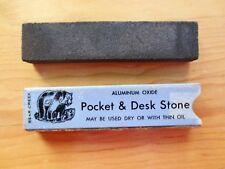 1950s Bear Creek Blade Sharpener Hone Pocket Desk Stone Aluminum Oxide Box Used