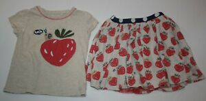 Used Next UK Girls 98 2 3  year Top & Skirt Set Outfit Strawberry Applique Snail