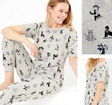 New M*S Ladies Women's Grey Short Sleeved Full Length Cats Lounge Pyjamas Pjs