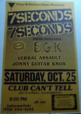 vintage org 7SECONDS BGK VERBAL ASSAULT 11x17 Punk Flyer poster rock kbd h/c