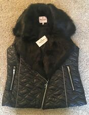NEW! NWT Juicy Couture Faux Fur Vest Black Quilted Authentic Medium Fully Lined