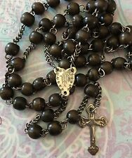 Antique Rare 1800's French Steel & Wood St Wilgefortis/Jesus Rosary-Estate