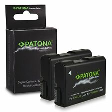 x2 batterie enel14 per nikon d3100 d3200 nikon DF 1050 premium patona