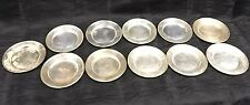 "Vintage Lot Of 11 Sterling Silver 6"" Bread Butter Plates Mixed Makers 28.85oz"