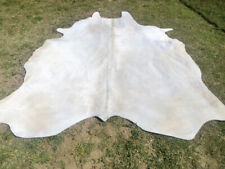 MAKE OFFER !! LARGE WHITE Cowhide Rug natural HAIR ON Cow Hide Skin light gray