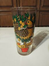 """Vtg Twelve Days Of Christmas Drinking Glass """"1st Day"""" Partridge in a pear tree"""