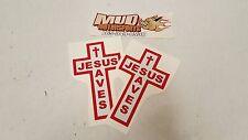 "Jesus Saves Cross Stickers Red White  3.25"" x 5.25"" Set of 2"