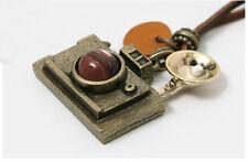 Occident Fashion Antique Bronze Cute Camera Necklace Pendant TOP leather cord
