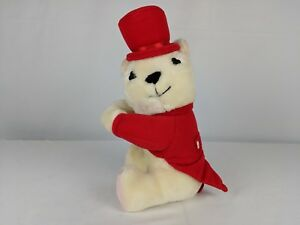 Vintage Valentines Day Teddy Bear By Teleflora White Bear in Red Tophat