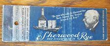 BLACK AMERICANA 1930s MATCHBOOK MATCHCOVER: SHERWOOD RYE -F2
