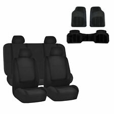 Car Seat Cover Solid Black Set for Auto w. Rubber Floor Mat