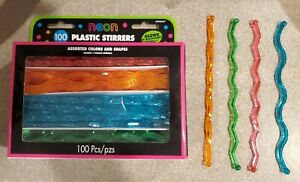 "GLOWING NEON Cocktail Drink Plastic Stirrer Sticks-100 Ct - 7"" Long - 4 Designs"