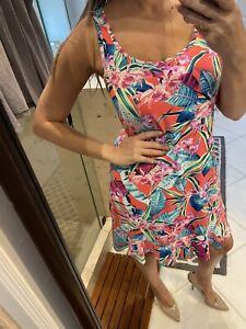 Tommy Bahama Women Pink Nylon Ruffle Hem  Casual Dress L