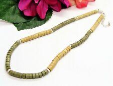 Cute! Silvertone Tan & Khaki Green Wood Beads Necklace!