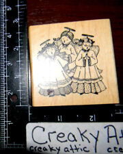 SINGING ANGLES VINTAGE DRESS RUBBER STAMP DELAFIELD G658