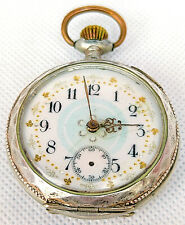 GOLD SILVER POCKET WATCH VINTAGE Movement Open Face RARE Retro SWISS Old