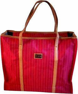 Pinstripe 18 inch Expandable Laptop Tote Bag w/ Leatherette Handle & 2 Pockets