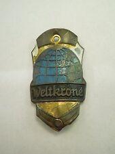 Vintage Weltkrone Globe Bicycle Head Badge Emblem Logo