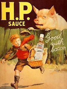 HP SAUCE GOOD WITH BACON Retro Metal Plaque/Sign, Pub, Bar, Man Cave,