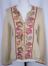 New Sigrid Olsen Sport Women's Button Up Sweater Size Medium Floral Casual $158