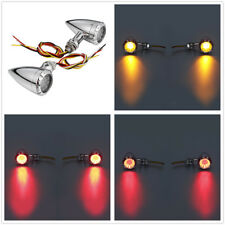 Amber Mesh Lens Led 2 Color Turn Signal Brake Light Bullet Bobber For Cafe Racer 12v For Harley Dyna Softail Flht Motorcycle Home