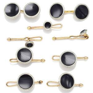 Antique Krementz Platinum & Gold Filled Onyx Cufflinks & Shirt Studs Set 12.1 Gr