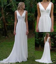 New Cheap Simple White V neck Wedding dresses Beach Chiffon Bridal Gowns Custom