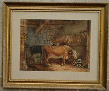 Aquarelle fin XIXème vaches à l'étable Traite