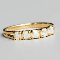1Ct Round Cut Fire Opal 14K Yellow Gold Over Five Eternity Wedding Band Ring