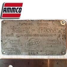 Vintage Ammco 3000 Brake Lathe Serial Number Identification Tag Plate