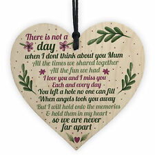 Mum Memorial Gift Grave Plaque Tribute Sign Wooden Heart Mum Birthday Gifts